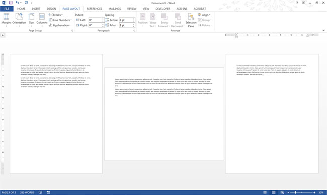 make one page in word landscape mac